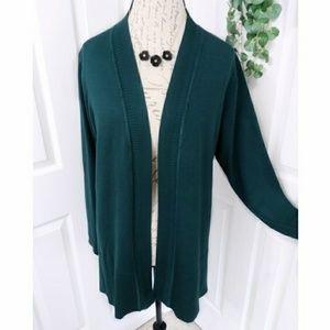 Avenue Dark Green Cardigan Sweater Size 14